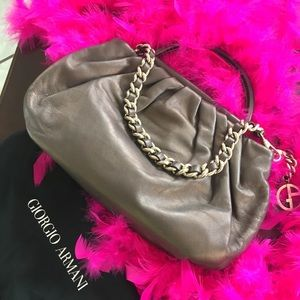 Brown Metallic Leather Giorgio Armani Handbag